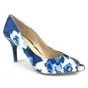 Liz Claiborne Blue Peep Toe Heels Career Blue 9